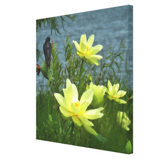Swallow and Lotus Canvas Print