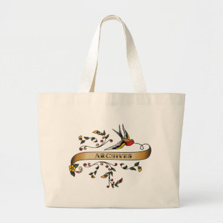 Swallow and Scroll with Archives Jumbo Tote Bag