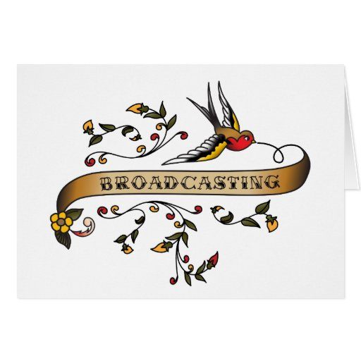Swallow and Scroll with Broadcasting Greeting Cards