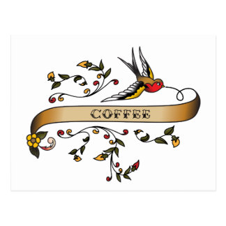 Swallow and Scroll with Coffee Postcard