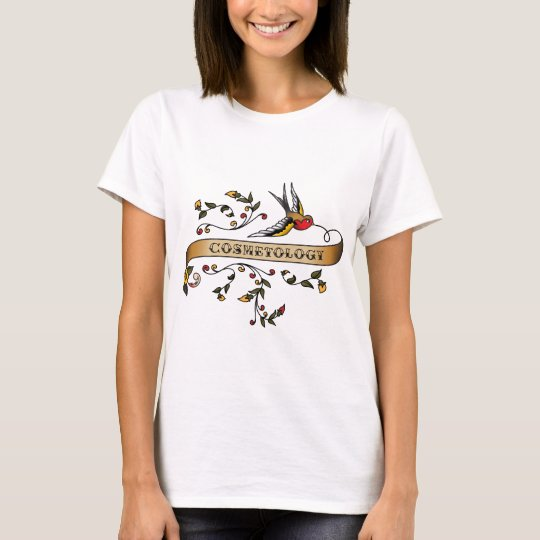 Swallow and Scroll with Cosmetology T-Shirt