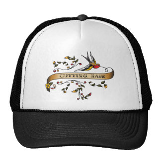 Swallow and Scroll with Cutting Hair Trucker Hat