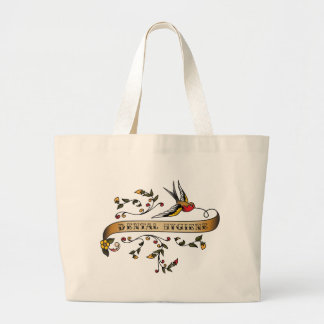 Swallow and Scroll with Dental Hygiene Large Tote Bag