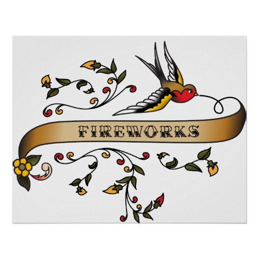 Swallow and Scroll with Fireworks Poster