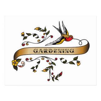 Swallow and Scroll with Gardening Postcard