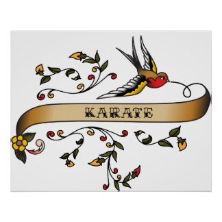 Swallow and Scroll with Karate Print