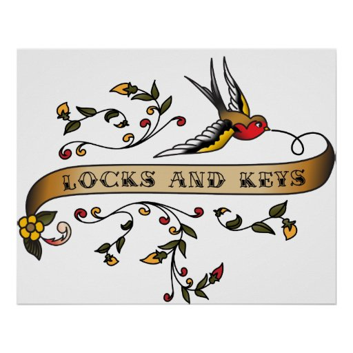 Swallow and Scroll with Locks and Keys Poster