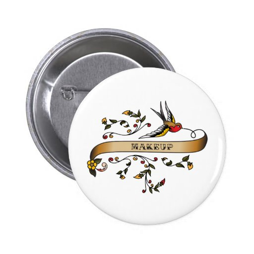Swallow and Scroll with Makeup 2 Inch Round Button