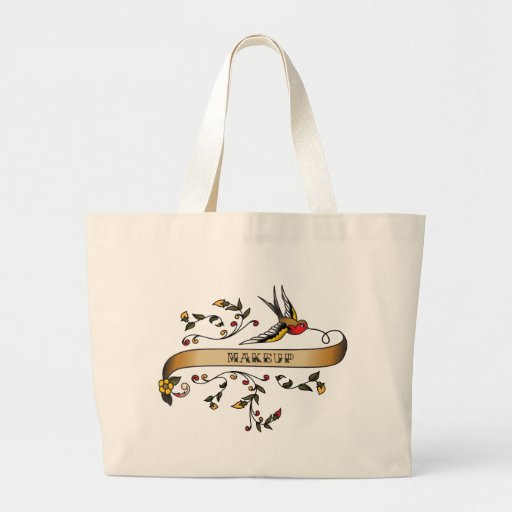 Swallow and Scroll with Makeup Jumbo Tote Bag