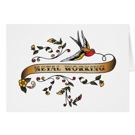 Swallow and Scroll with Metal Working Greeting Card