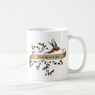 Swallow and Scroll with Midwifery Classic White Coffee Mug