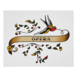 Swallow and Scroll with Opera Poster