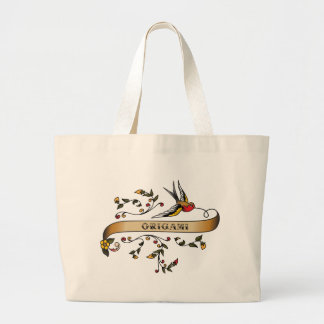 Swallow and Scroll with Origami Canvas Bag