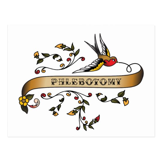 Swallow and Scroll with Phlebotomy Postcard