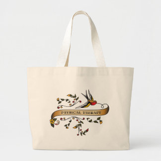 Swallow and Scroll with Physical Therapy Large Tote Bag