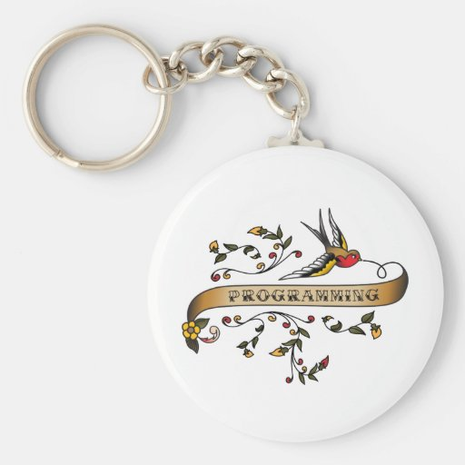 Swallow and Scroll with Programming Basic Round Button Keychain