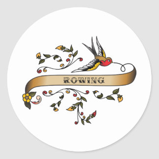 Swallow and Scroll with Rowing Round Sticker