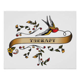 Swallow and Scroll with Therapy Poster