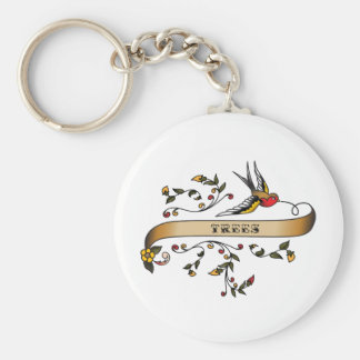 Swallow and Scroll with Trees Keychains