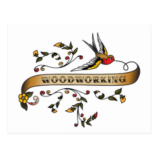 Swallow and Scroll with Woodworking Postcard