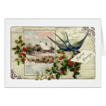 Swallow and Sheep Vintage Christmas Card