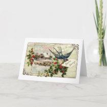 Swallow and Sheep Vintage Christmas Holiday Card
