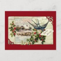 Swallow and Sheep Vintage Christmas Holiday Postcard