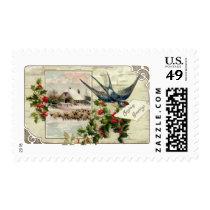Swallow and Sheep Vintage Christmas Postage