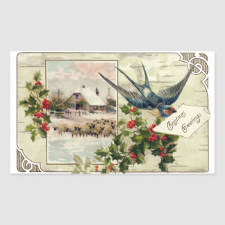Swallow and Sheep Vintage Christmas Rectangular Sticker
