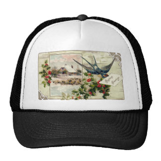 Swallow and Sheep Vintage Christmas Trucker Hat