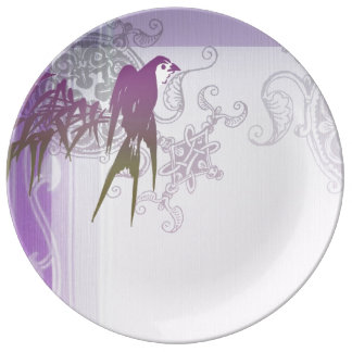Swallow bamboo purple leaf vine porcelain plate