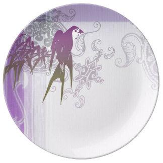 Swallow bamboo purple leaf vine porcelain plate