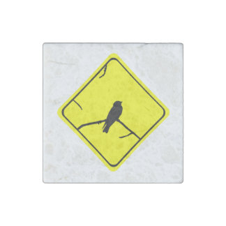 Swallow Bird Silhouette Caution or Crossing Sign Stone Magnet