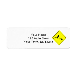 Swallow Bird Silhouette Caution or Crossing Sign Return Address Label
