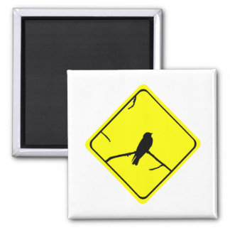 Swallow Bird Silhouette Caution or Crossing Sign Fridge Magnet