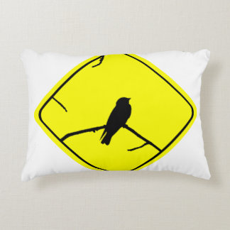 Swallow Bird Silhouette Caution or Crossing Sign Accent Pillow