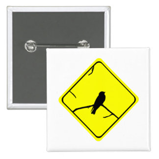Swallow Bird Silhouette Caution or Crossing Sign Pinback Button