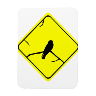 Swallow Bird Silhouette Caution or Crossing Sign Flexible Magnet