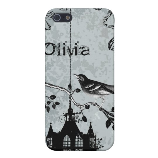 Swallow Black Bird Cage Vintage Damask iPhone Case