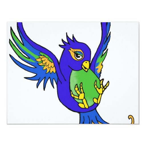 Swallow blue and green card