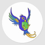 Swallow blue and green classic round sticker
