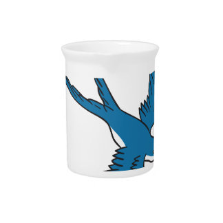 Swallow Flying Down Drawing Beverage Pitcher