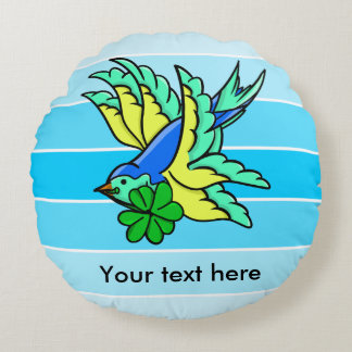 Swallow Flying St. Paddy's Day Lucky Shamrock Round Pillow