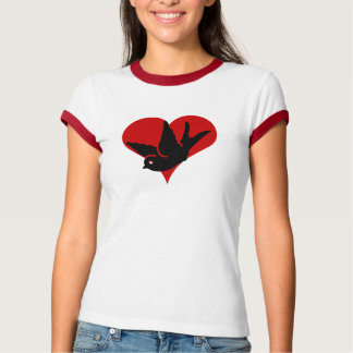 """Swallow Heart"" Ginger and Tonic Red Ringer Rockab T-Shirt"