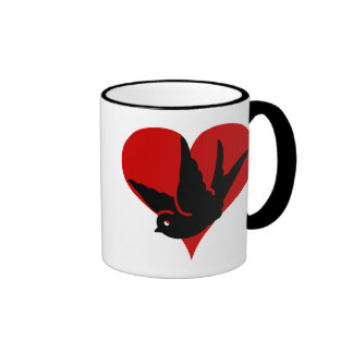 Swallow Heart Ginger and Tonic Rockabilly Tatto Ar Ringer Coffee Mug