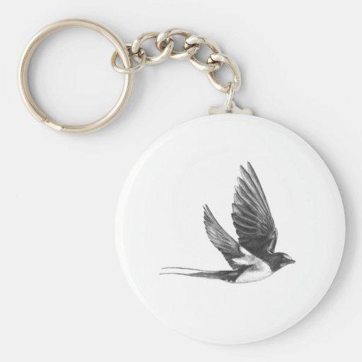 Swallow in flight key chain