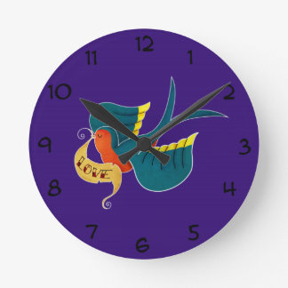 Swallow in Love Round Clock