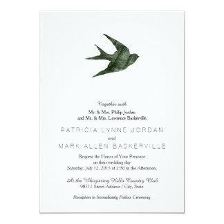 Swallow (Letterpress Style) 5x7 Paper Invitation Card
