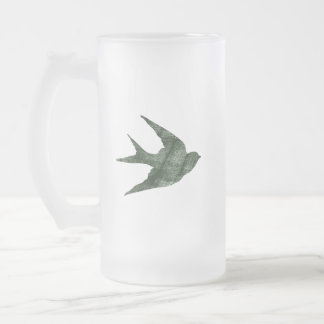 Swallow (Letterpress Style) Frosted Glass Beer Mug