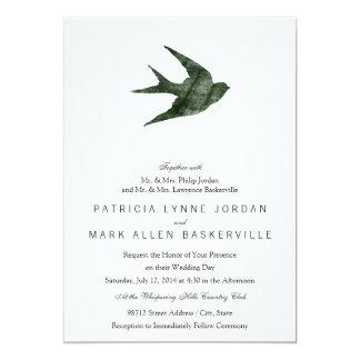 Swallow (Letterpress Style) Announcement